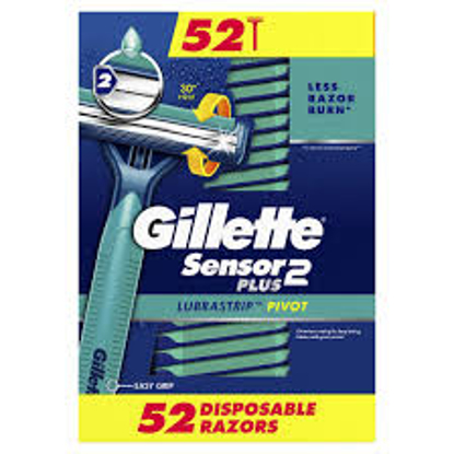 Gillette Sensor2 Plus Pivoting Head and Lubrastrip Men's Disposable Razors 52 ct