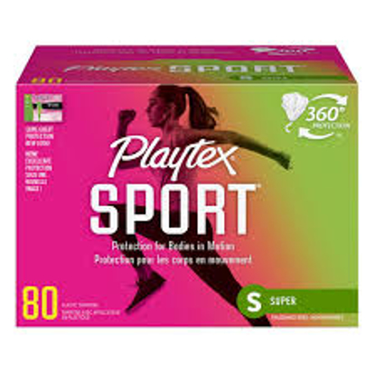 Playtex Sport Plastic Tampons Unscented, Super Absorbency 80 ct