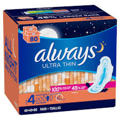 Always Ultra Thin Size 4 Overnight Pads 80 ct