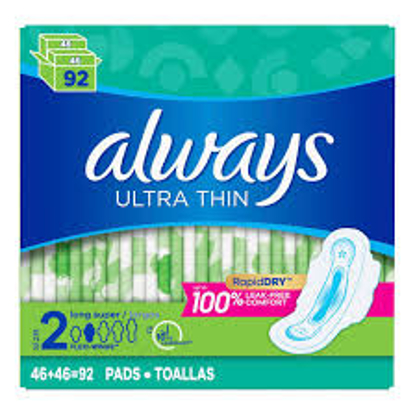 Always Ultra Thin Size 2 Long Super Pads 92 ct