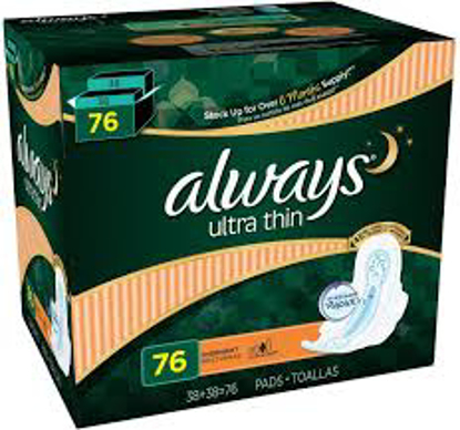 Always Ultra Thin Overnight Pads with Flexi-Wings 76 ct