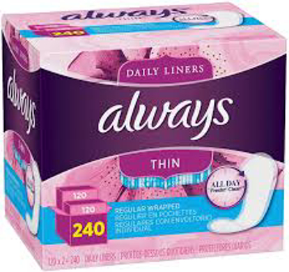 Always Regular Thin Unscented Pantiliners 240 ct