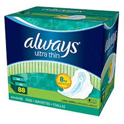 Always Ultra Thin Long and Super Pads with Flexi-Wings Multipack 88 ct