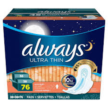 Always Ultra Thin Overnight Pads with Flexi-Wings, 76 ct.