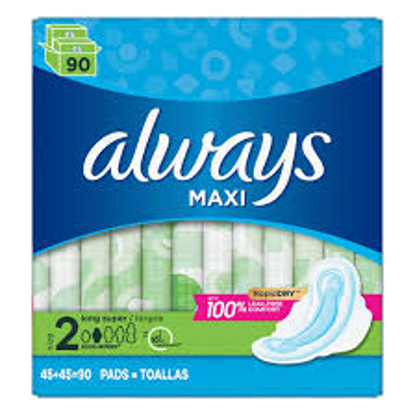 Always Long and Super Maxi Pads with Flexi-Wings Multipack 90 ct