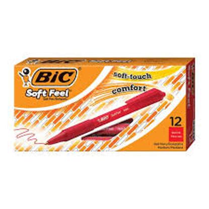 BIC Soft Feel Retractable Ballpoint Pen 1mm Medium Red Ink 12 ct