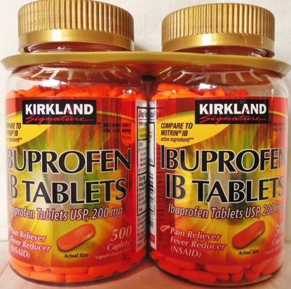 Picture of Kirkland Signature Ibuprofen IB Tablets-Caplet 2 Bottles 200 mg of 500 Tablets