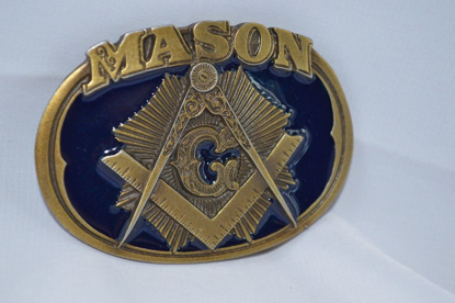 Picture of Masonic Freemason Blue Color Metal Belt Buckle