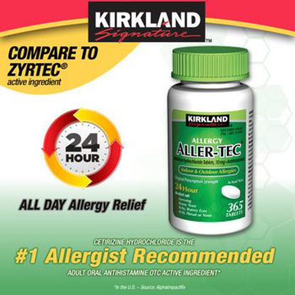 Picture of Kirkland Signature Aller-Tec Cetirizine Hydrochloride Tablets, 10 mg, 365 Count