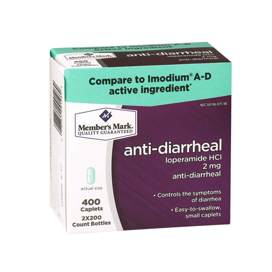 Picture of Member's Mark Anti-Diarrheal Loperamide HCl 2mg (1 bottle (200 caplets))