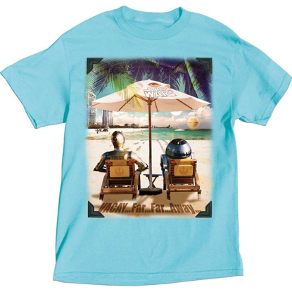 Picture of Adult Star Wars Beach Droids C3PO R2D2, Blue T-Shirt