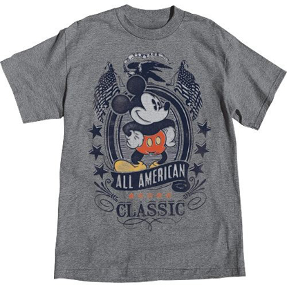 Picture of Disney Adult T-Shirt Mickey Mouse All American Classic, Charcoal Heather