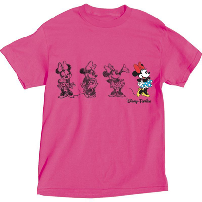 Picture of Disney Adult Womens Embroidered Sketchy Minnie T Shirt Pink