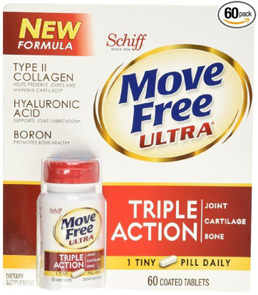 Schiff Move Free Ultra Type II Collagen Hyaluronic Acid Boron Tripe Action Tablets 60 ct