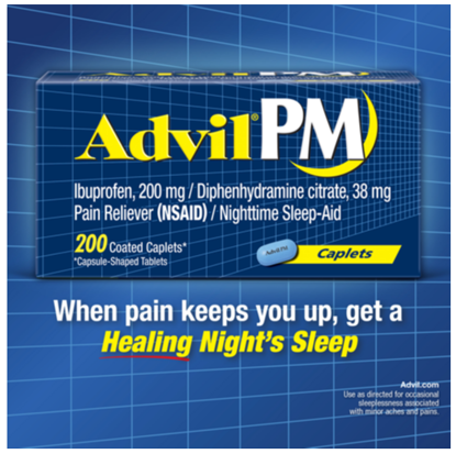 Picture of Advil Pm Ibuprofen 200mg Fast Pain Reliever and Fever Reducer Nighttime Sleep...