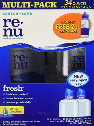 Picture of Bausch + Lomb Renu Multi-purpose solution - 2 x 16 fl. oz. bottles + 1 2 fl. oz bottle