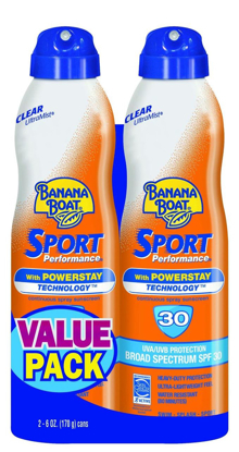 Picture of Banana Boat Ultra Mist Sport Performance Broad Spectrum Sun Care Sunscreen Spray Twin Pack  SPF 30 6 ounce
