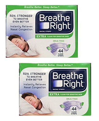 Picture of Breathe Right Nasal Strips Extra, Sensative Skin : 88 Clear Strips