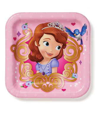 """Picture of American Greetings Sofia the First 7"""" Square Plate, 8 Count, Party Supplies Novelty"""
