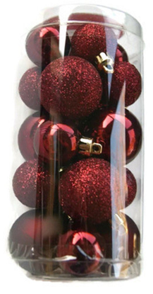Picture of Holiday Time Miniature Christmas Tree Shatterproof Ornaments - Burgundy - 20 Count
