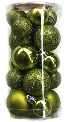 Picture of Holiday Time Miniature Christmas Tree Shatterproof Ornaments - Yellow Green - 20 Count
