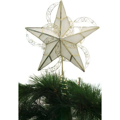 Picture of Holiday Time Capiz Gold Circle Tree Topper