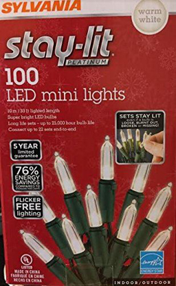 Picture of Sylvania Stay-Lit Platinum LED Indoor/Outdoor Christmas String Lights (100ct mini lights, Warm White)