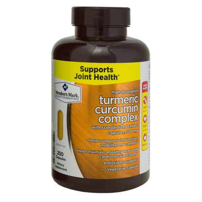 Picture of Member's Mark High Absorption Turmeric Curcumin Complex with Standardized Extract Capsules 500 mg 1 bottle 250 capsules