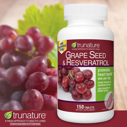 Picture of trunature Grape Seed and Resveratrol 150 Tablets