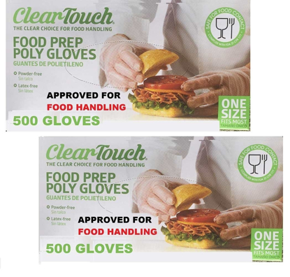 Picture of Disposable Gloves Food Preparation Poly Gloves Disposable Food Gloves Latex & Powder Free 2 Box 1000 Gloves