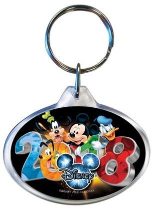 Picture of Disney 2018 In Your Face Mickey Goofy Pluto Donald Lucite Keychain