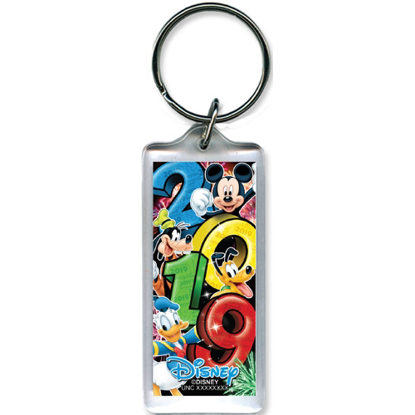 Picture of 2019 Dated Big Party Mickey Goofy Donald Pluto Lucite Keychain, Multi