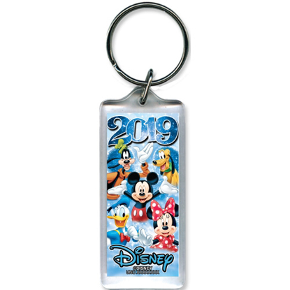 Picture of 2019 Dated Star Fun Time Mickey Minnie Goofy Donald Pluto Lucite Keychain, Multi