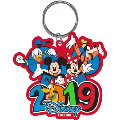 Picture of 2019 Dated Burst Four Mickey Minnie Goofy Donald Pluto Laser Keychain, Multi (Florida Namedrop)