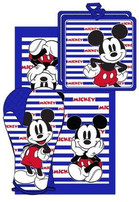 Picture of Disney Mickey Mouse Stripes 3pc Kitchen Towel Set, Blue & White
