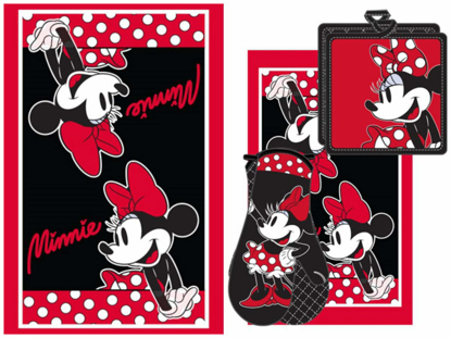 Picture of Disney Minnie Dotty 3pc Kitchen Towel Set Red & Black