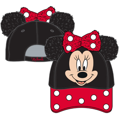 Picture of Disney Toddler Minnie Plush Ears Baseball Hat Black Red hat