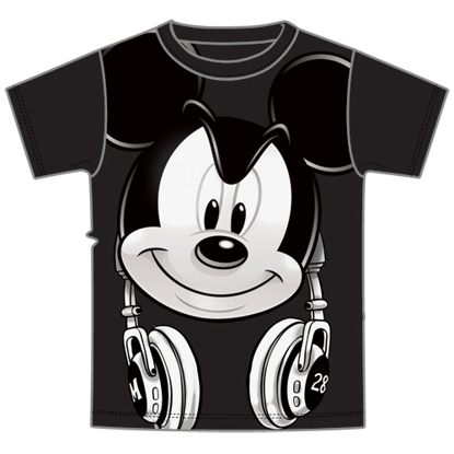 Picture of Disney Adult Mens Tee Mickey Hedfowns Headphones Black  T-Shirt