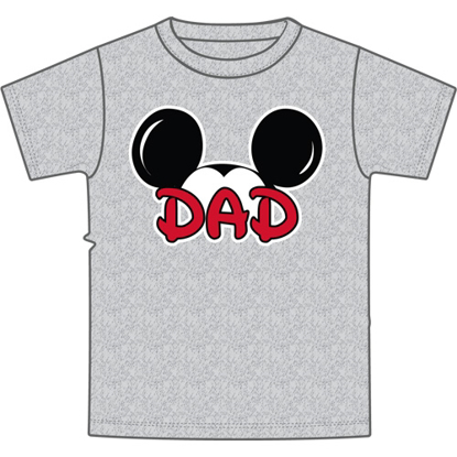 Picture of Disney Adult Mens Tee Shirt Dad Fan Gray T-Shirt