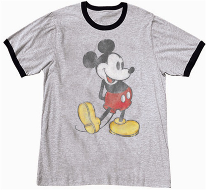 Picture of Disney Adult Unisex Ringer T Shirt Nostalgia Mickey Gray T-Shirt