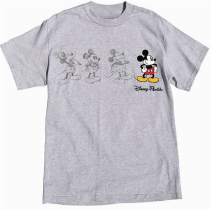 Picture of Adult Unisex T Shirt 3 Mickey Sketch, Gray Heather Florida Namedrop