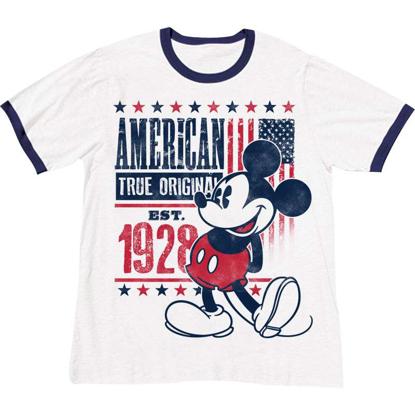 Picture of Disney Adult Unisex T Shirt True OG Original Mickey Ringer White Navy T-Shirt