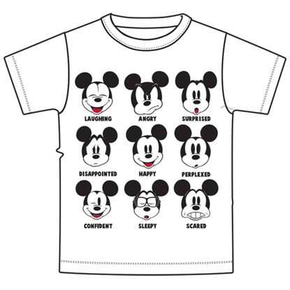Picture of Disney Adult Unisex T-Shirt Mickey Expressions White