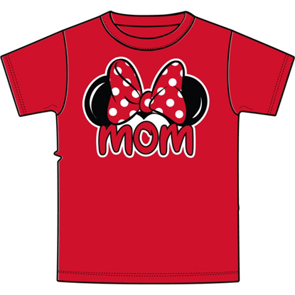 Picture of Disney Adult Womens Tee Shirt Mom Fan Red T-Shirt
