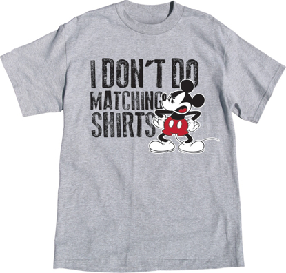 Picture of Disney Adult Size Unisex Tee Shirt Mickey Don't Do Matching Gray T-Shirt