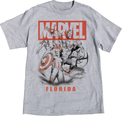 Picture of Disney Adult Mens T-Shirt Avengers Assemble Gray Florida Namedrop