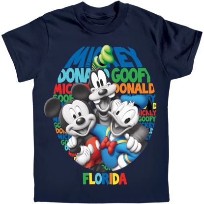 Picture of Boys T-Shirt Just Us Three Mickey Goofy Donald Navy Florida Namedrop