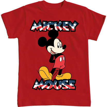 Picture of Disney Boys T-Shirt Standing Mickey USA Classic Red