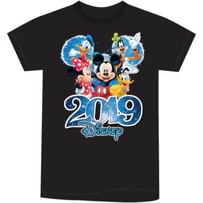 Picture of Disney Youth Unisex T Shirt 2019 Dated Fabulous Group Mickey Minnie Donald Goofy Pluto Black T Shirt