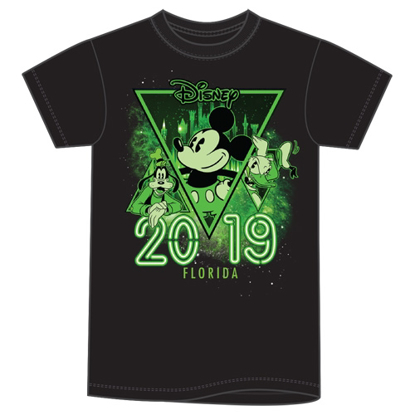 Picture of Disney Youth Unisex T Shirt 2019 Dated Mickey Goofy Donald Glow in the Dark Black Florida Namedrop